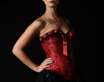 Red Silk Brocade Victorian Steel Boned Overbust Corset
