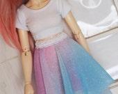 Doll MSD Minifee BJD clothes Rainbow glitter hi-low skirt MonstroDesigns