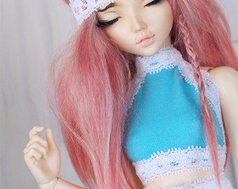 BJD Doll Minifee clothes MSD clothing Aqua and white lace halter Crop Top MonstroDesigns