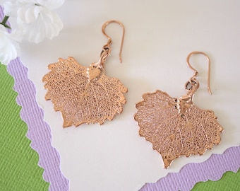 Rose Gold Leaf Earrings Cottonwood, Small Cottonwood Leaf Earrings, Real Leaf Earrings, Rose Gold Leaf, LESM113