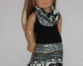 18 inch doll clothes, black tank top, tribal print maxi skirt with matching infinity scarf, elephant print doll skirt, Upbeat Petites