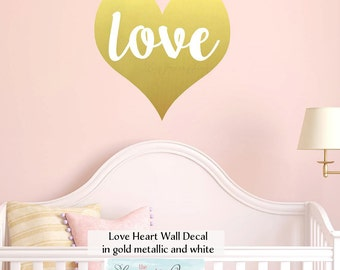 Love Heart Wall Decal • Large Heart Shaped Decal Wall Decor for Kids Room
