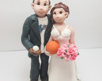 Sports Themed Wedding Cake topper, Custom wedding cake topper, personalized cake topper, Bride and groom cake topper, Mr and Mrs cake topper