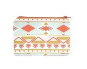 Tribal Zipper Pouch / Gold Coral and Teal Patterned Wallet / Cute Make Up Bag Modern Collection