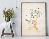 Mae - Portrait - Holli - Nursery Wall Art - Nursery Decor - Childrens Art - Kids Wall Art - Nursery Art