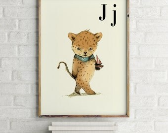Jaguar print, nursery animal print, safari nursery, alphabet letters, abc letters, alphabet print, animals prints for nursery