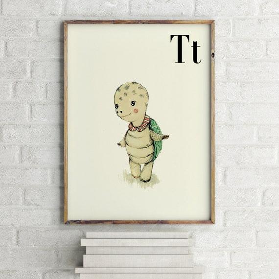 T for Turtle - Alphabet art - Alphabet Letters - Baby Zoo Animals - Safari Nursery - Nursery art - Nursery decor - Baby Animals