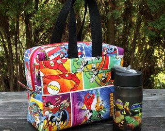 Insulated Lunch Bag Lunch Box Cooler Rectangle Justice League Batman Superman Wonder Woman Made To Order