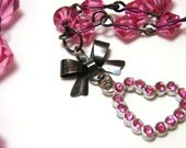 Pink Rhinestone Heart Necklace - Tiny rose pink heart with gray bow and glass crystal bicone beads - Sweet Lolita