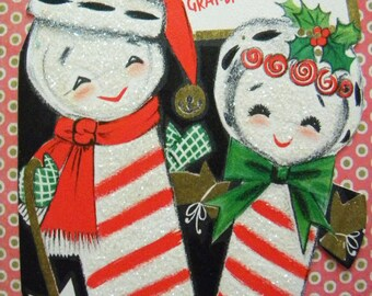 Vintage Anthropomorphic Candy Cane Christmas Card Lots of Glitter