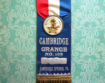 Antique Patrons of Husbandry Ribbon with Celluloid Badge Gold Fringe Cambridge PA
