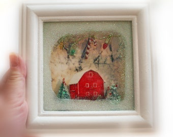 Country winter, Shadow box Frame 6x6 inches and 1 inch deep, ready to hang, #Christmas Handmade #Christmas decor #Winter scenics #Art