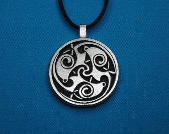 Large Circular Celtic Designed Pendant in Silver Pewter, Handmade, Handcast STK059