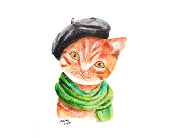 Funny Cat Print French Style Artist Cat Orange Tabby Cat Illustration Print Cat Home Wall Decor Crazy Cat Lady Gift Funny Gift for Cat Lover