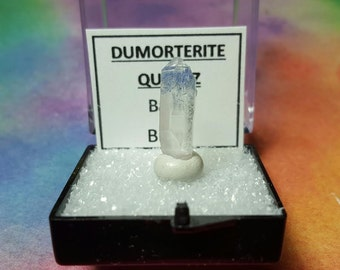 Sale DUMORTIERITE QUARTZ Blue Inclusions Rare Double Terminated Crystal In Perky Mineral Specimen Box From Brazil New Find