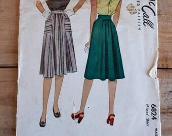 "1940s Sewing Pattern / 1940s Skirt Pattern / McCall 6824 / Waist 26"""