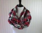 Red & Green Plaid Scarf - Red Green Tartan Scarf - Red Tartan Plaid Scarf - Green Tartan Plaid Scarf - Circle Scarf - Gift for Her