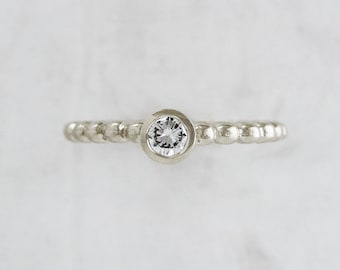White Gold Diamond Engagement Ring | 14k White Gold Bead Band Solitaire | Delicate diamond ring  Recycled Conflict Free Diamond