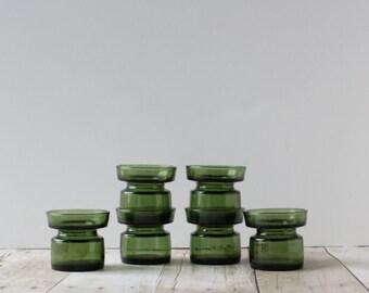 Dansk Glass CandleHolders Set of 6 / Greem Danish Modern Candle Holders