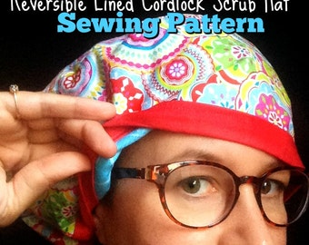 Scrub Hat Sewing Pattern Tutorial DIY Reversible Fully Lined Surgical Scrub  Cap Instructions with Adjustable download PDF  #dbap006