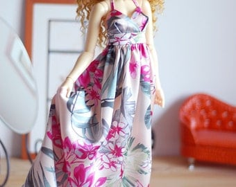 Pink satin flower print maxi dress for SD Delf BJD dolls
