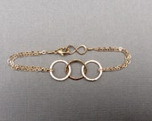 14KT Gold Fill 3 Circle Link Chain Bracelet, Infinity Clasp Hammered Rings, Eternity, Modern Jewelry