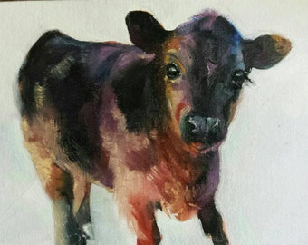 Little Cute Calf Painting 5x7 Oil Painting Farm and Ranch Cow Art