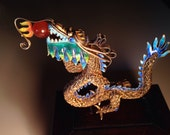 1930 Chinese Enameled Sterling Silver Dragon