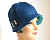 Linen Cloche Hat in Dark Blue with Art Deco Buckle - 1920s Cloche