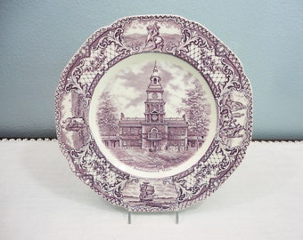 Royal Ducal Purple Transferware Independence Hall Dinner Plate