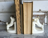 Vintage Bookends - Scotty Dogs - Made in Japan - White Ceramic
