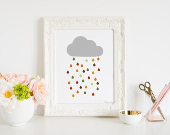 Rainy Cloud Art Print, Digital Art, Printabel Art, Nursery Cloud Art Decor, Nursery wall decor, Baby Art, Minimalist Art Print, Cloud Art