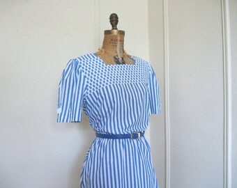 blue stripes, 1980s striped + checked day dress - vintage size 12, medium to large