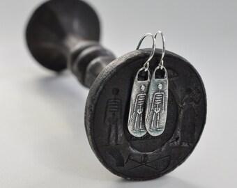 skeleton earrings - sterling silver wax seal dangle earrings - memento mori antique wax seal jewelry