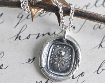 rose wax seal necklace pendant ... England For Ever - fine silver antique wax seal jewelry