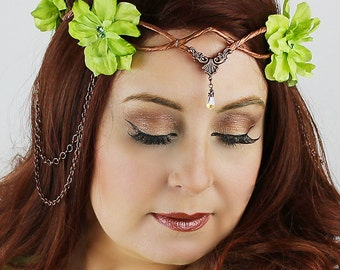Flower Crown in Copper and Pale Green, Wedding Headpiece,Wedding Accessory,Wedding Wreath,Floral Crown, Fairy, Renaissance, Costume