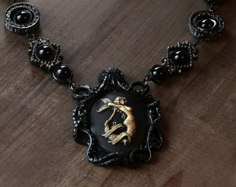 Goth Jewelry - Necklace -Black Octopus with Blue Mermaid Cameo