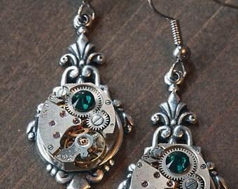 Steampunk Earrings - Emerald Green Crystal
