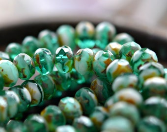 Evergreen Waters - Premium Czech Glass Beads, Transparent Emerald Green, White, Picasso Finish, Facet Rondelles 6x8mm - Pc 10
