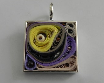 Purple and Yellow Pop Mixed Media Square Silver Pendant