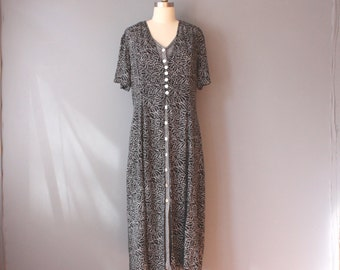vintage 90s dress / black layered rayon dress / leaf pattern grunge dress / sz 8