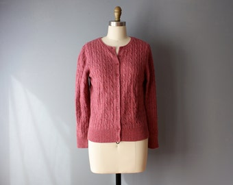 vintage 90s cardigan / dusty rose cable knit LL Bean sweater / S