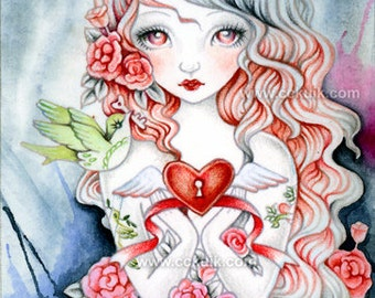 Key Of Love - Original ACEO Panting Valentine Tattoo Bird Heart Flower Rose Girl Art by ching-chou kuik
