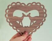 Valentine's Day decor Art Print, Valentine's gift, Heart shaped wall art - A woodland Valentine Kising Deer - Valentine doily wood print