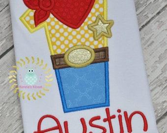 Cowboy Friend - 1st Birthday  -first -  Inspired - Story - Birthday - Alpha - Toy -Alphabet  Appliqué shirt ( 1st 2nd 3rd 4th 5th )