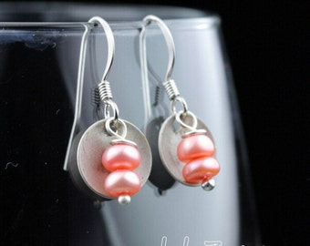 Sweet Little Earrings: Pearls and Domed Antiqued Silver Disks