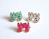SALE! Yay Pin Badge, Yay Enamel Pin, Lapel Pin Brooches, Pins, Pin badges, RockCakes Jewellery, Brighton, UK