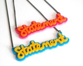 Bright Statement Necklace, Laser Cut Acrylic Necklace, Fun Necklace, Summer Necklace, Made in Brighton, England