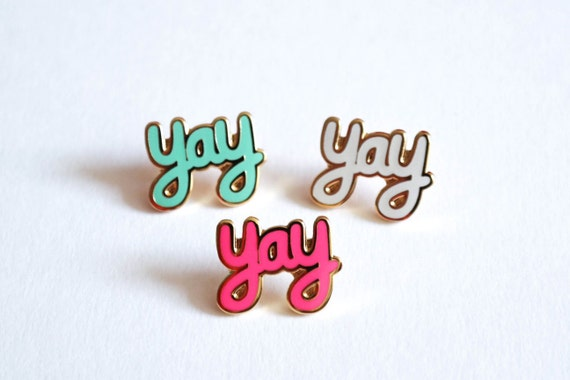 Yay Pin Badge, Yay Enamel Pin, Lapel Pin Brooches, Pins, Pin badges, RockCakes Jewellery, Brighton, UK