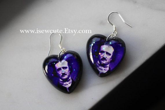 edgar allan poe jewelry set earrings necklace unique by